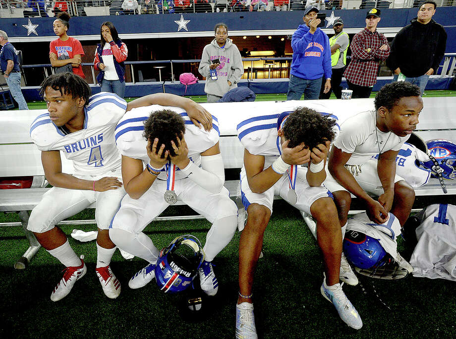 West Brook reacts after falling to Longview 35 - 34 during Saturday's state final Class 6A Div. II championship game at AT&T Stadium in Arlington.