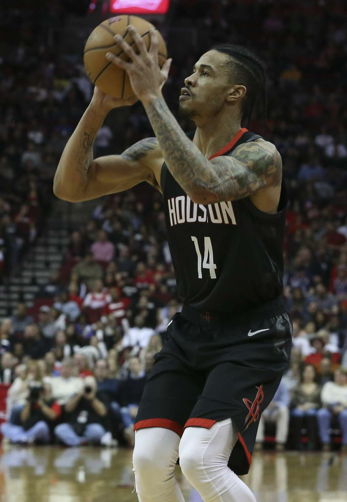 Houston Rockets guard Gerald Green (14) aims for a three-pointer during the fourth quarter of the NBA game against the San Antonio Spurs at Toyota Center on Saturday, Dec. 22, 2018, in Houston. The Houston Rockets defeated the San Antonio Spurs 108-101.
