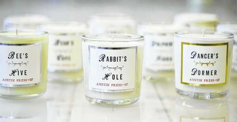 "Kimberly Austin of San Francisco designs scented candles for Austin Press, giving each of them a little back story and interesting name. ""I wanted them to be like vintage apothecary jars with samples of places and people,"" Austin says. Photo: Kimberly Austin 