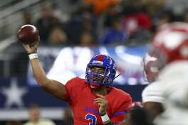 Duncanville quarterback Ja'Quinden Jackson (3) throws the ball against Galena Park North Shore during the third quarter of the 6A Division 1 State Championship against Duncanville at AT&T Stadium Saturday, Dec. 22, 2018, in Arlington, Texas. Galena Park North Shore won 41-36.