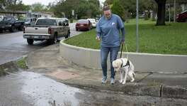 Jamie Massey, director of training at Guide Dogs of Texas, watches as her guide dog in-training Ike stops and assesses the obstacle in front of him before alerting his owner and continuing on, outside of the Guide Dogs of Texas training facility in San Antonio on Friday, November 9, 2018. The guide dogs must be able to alert their legally blind owners of such obstacles as they appear.
