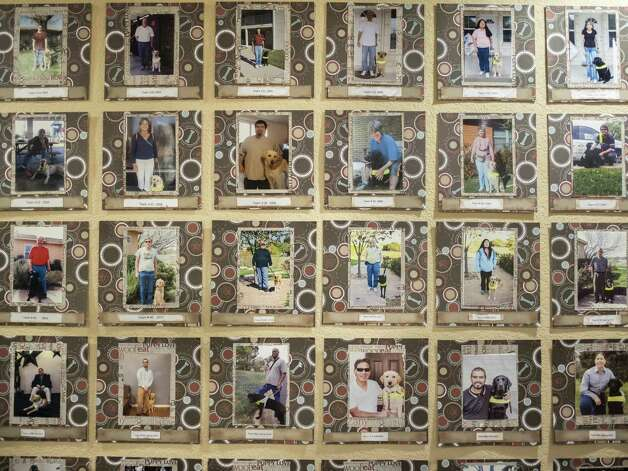 Photographs of Guide Dogs of Texas's clients along with their service dogs line the wall of the company's office in San Antonio on Friday, November 9, 2019. Guide Dogs of Texas has been operating since 1989 and serviced the blind with over 230,000 days of guided sight. Photo: Matthew Busch, For The San Antonio Express-News / For The San Antonio Express-News / © Matthew Busch