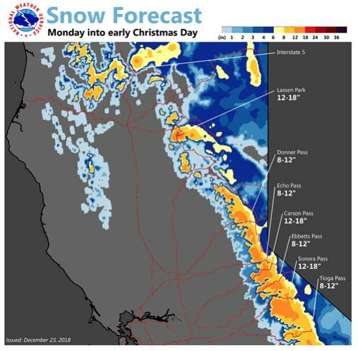 The snow forecast for California's Sierra Nevada, Cascade and Shasta-Siskiyou ranges shows up to 18 inches in some areas for Christmas Day
