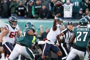 Houston Texans quarterback Deshaun Watson (4) throws a pass against the Philadelphia Eagles during the fourth quarter of an NFL football game at Lincoln Financial Field on Sunday, Dec. 23, 2018, in Philadelphia.
