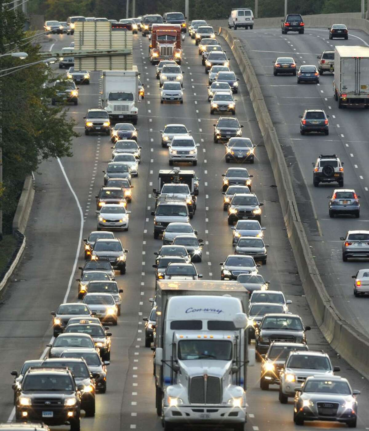 Traffic moves along Interstate 95 through Stamford. A proposal to widen the highway in Fairfield County may never get off the ground.
