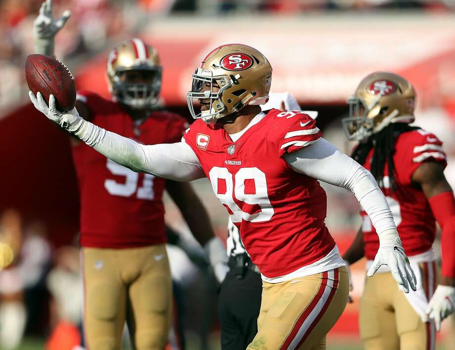 San Francisco 49ers' DeForest Buckner celebrates recovering lateral pass by Chicago Bears' Mitch Trubisky in 2nd quarter during NFL game at Levi's Stadium in Santa Clara, Calif. on Sunday, December 23, 2018. Photo: Scott Strazzante / The Chronicle