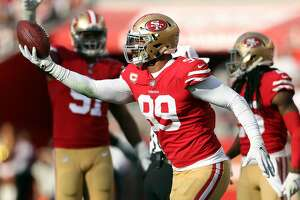 San Francisco 49ers' DeForest Buckner celebrates recovering lateral pass by Chicago Bears' Mitch Trubisky in 2nd quarter during NFL game at Levi's Stadium in Santa Clara, Calif. on Sunday, December 23, 2018.