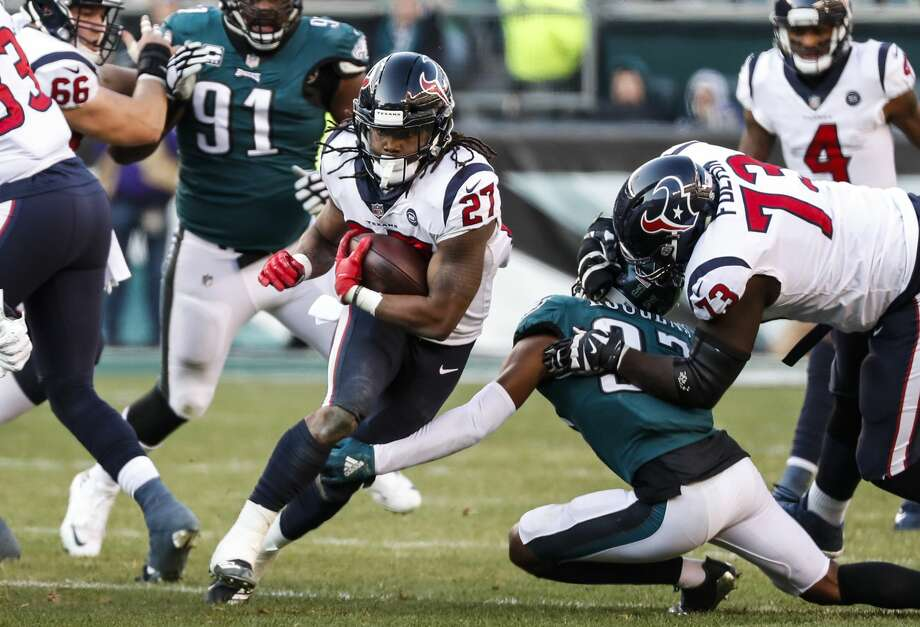 PHOTOS: NFL's best available free agents  Houston Texans running back D'Onta Foreman (27) is tripped up by Philadelphia Eagles defensive back Tre Sullivan (37) as he runs up the middle during the third quarter of an NFL football game at Lincoln Financial Field on Sunday, Dec. 23, 2018, in Philadelphia. >>>See which players remain available during the 2019 offseason ...  Photo: Brett Coomer/Staff Photographer