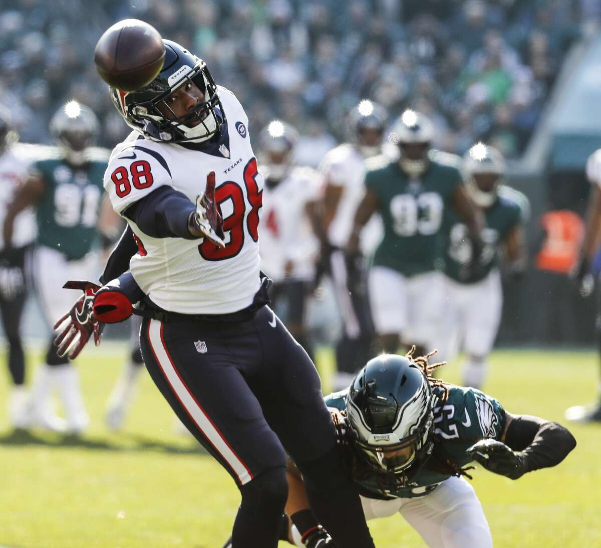 Houston Texans tight end Jordan Akins (88) loses the handled on a pass defended by Philadelphia Eagles free safety Avonte Maddox (29) for an incomplete pass during the first half of an NFL football game at Lincoln Financial Field on Sunday, Dec. 23, 2018, in Philadelphia.
