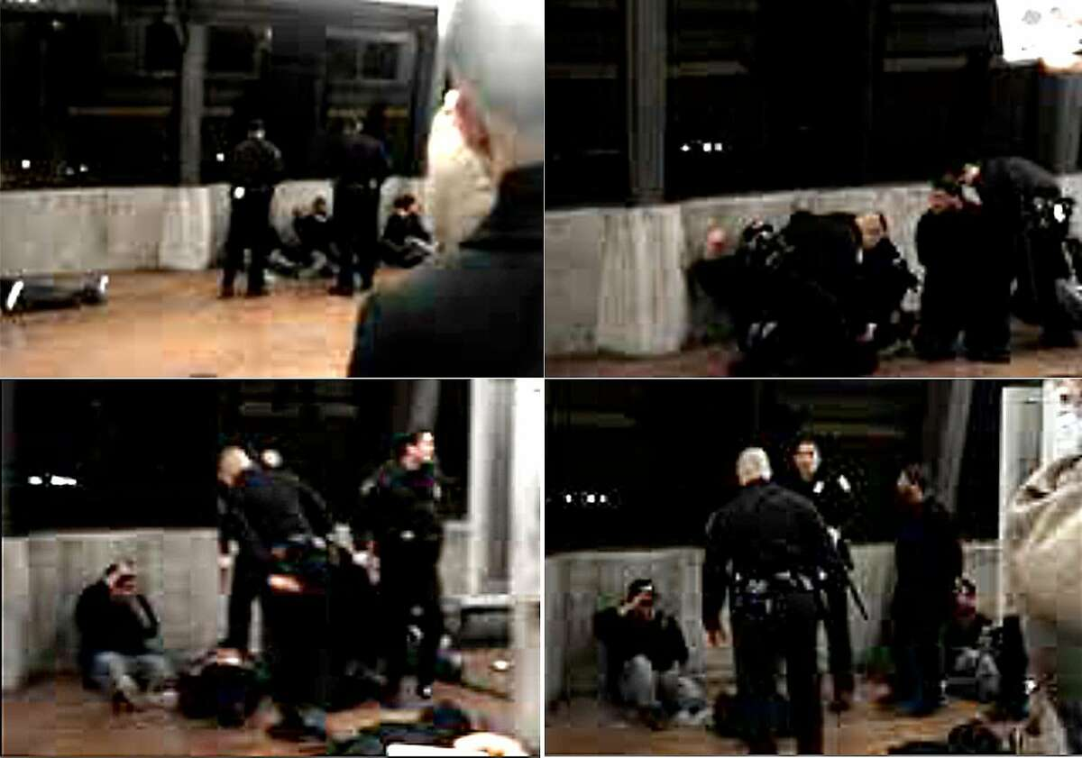 This composite image, made from a cell phone video released by attorney John Burris, shows the moments before and immediately after Johannes Mehserle shot Oscar Grant on the Fruitvale BART station platform on Jan. 1, 2009. (Top left) BART police officers talk to Oscar Grant as he sits against the wall at the Fruitvale station platform. (Top right) Mehserle and another officer place Grant on his stomach. (Bottom left) Mehserle holds his gun after shooting Grant. (Bottom right) Mehserle looks up moments after discharging his weapon.