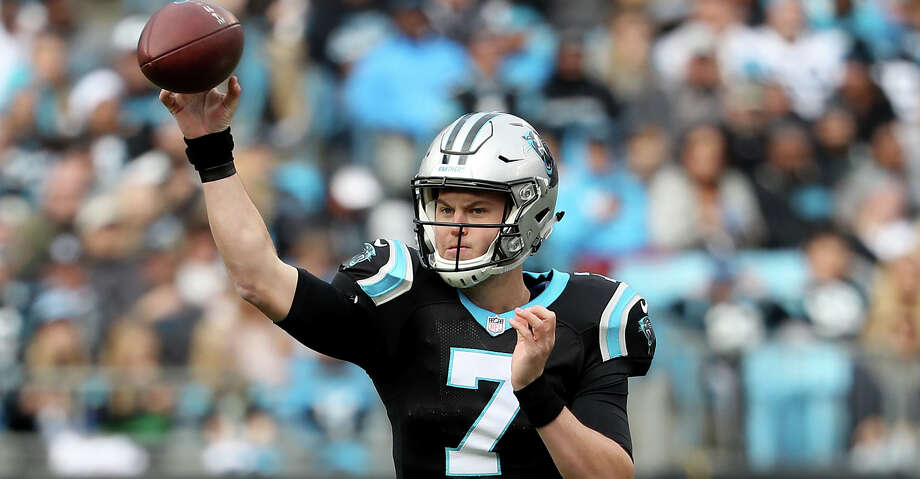 CHARLOTTE, NORTH CAROLINA - DECEMBER 23: Kyle Allen #7 of the Carolina Panthers drops back to pass against the Atlanta Falcons in the second quarter during their game at Bank of America Stadium on December 23, 2018 in Charlotte, North Carolina. (Photo by Streeter Lecka/Getty Images) Photo: Streeter Lecka/Getty Images / 2018 Getty Images