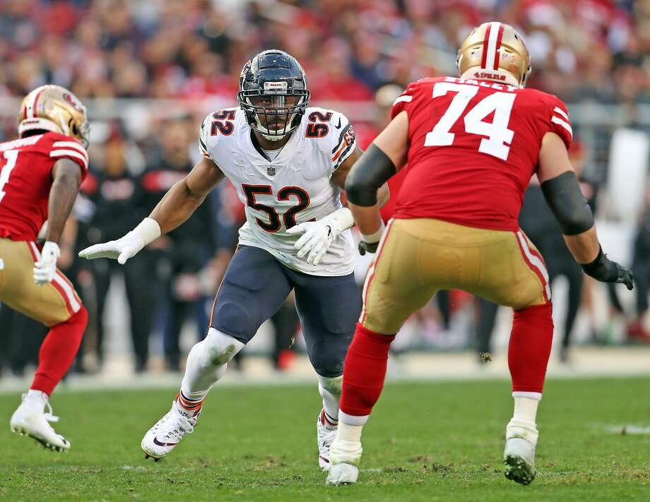 Chicago Bears' Khalil Mack rushes against San Francisco 49ers' Joe Staley in 4th quarter during Bears' 14-9 win in NFL game at Levi's Stadium in Santa Clara on Sunday. Photo: Scott Strazzante / The Chronicle