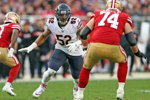 Chicago Bears' Khalil Mack rushes against San Francisco 49ers' Joe Staley in 4th quarter during Bears' 14-9 win in NFL game at Levi's Stadium in Santa Clara, Calif. on Sunday, December 23, 2018.