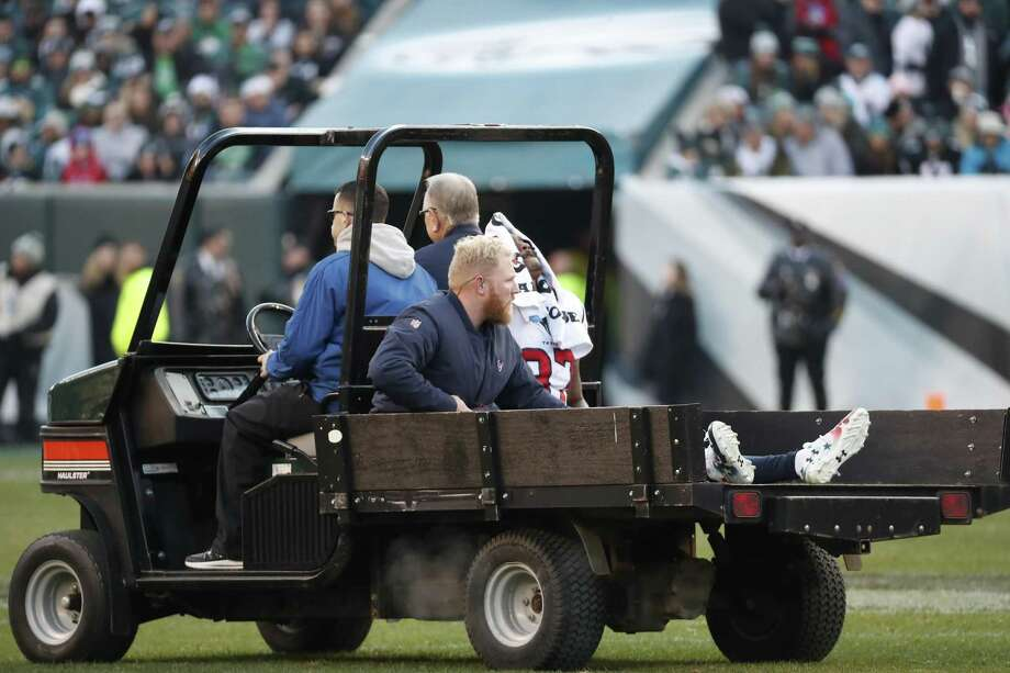 Houston Texans wide receiver Demaryius Thomas (87) is carted off the field after suffering an injury against the Philadelphia Eagles during the fourth quarter of an NFL football game at Lincoln Financial Field on Sunday, Dec. 23, 2018, in Philadelphia. Photo: Brett Coomer, Houston Chronicle / Staff Photographer / © 2018 Houston Chronicle