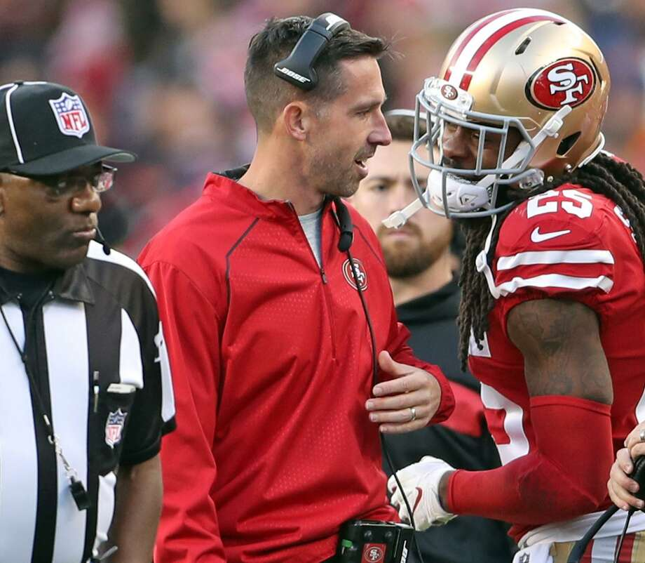 d587aa35758 San Francisco 49ers  Richard Sherman talks with head coach Kyle Shanahan  after Sherman was ejected