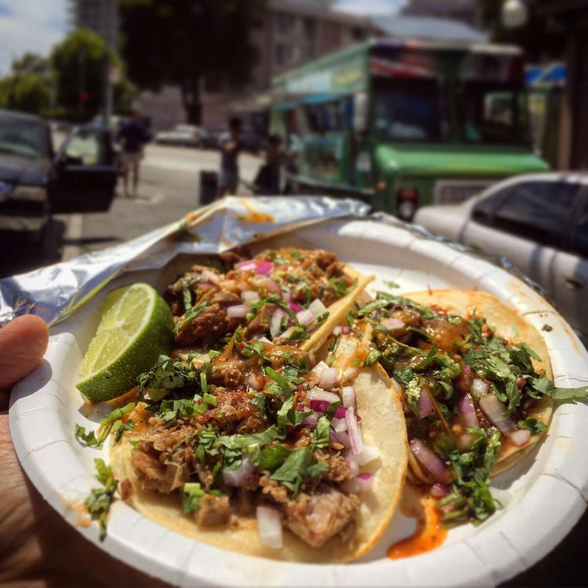 A selection of tacos from Tacos Mi Rancho in Oakland.