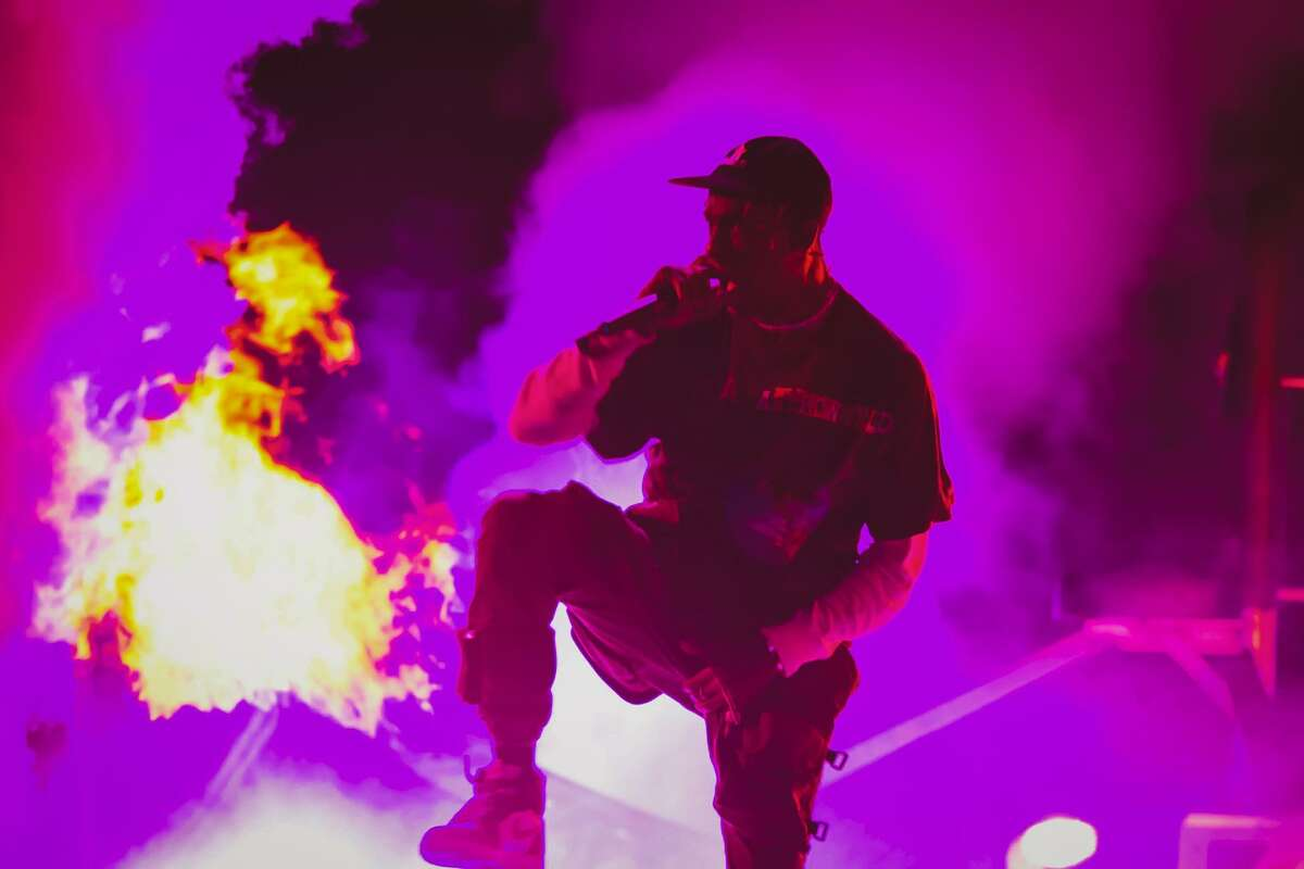 Travis Scott onstage at his inaugural Astroworld Festival in Houston, featured in 'Look Mom I Can Fly.'