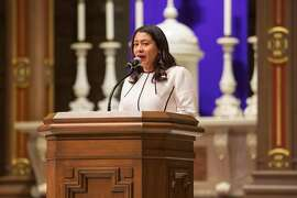 San Francisco Mayor London Breed speaks during the Interfaith Vigil for Victims of Gun Violence, sponsored by Moms Demand Action at the St. Ignatius Catholic Church on Sunday, December 9, 2018 in San Francisco, Calif.
