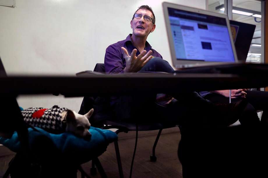 San Francisco State University senior Garrick Wilhelm teaches a class on the rhetoric of homelessness in November. Photo: Scott Strazzante / The Chronicle