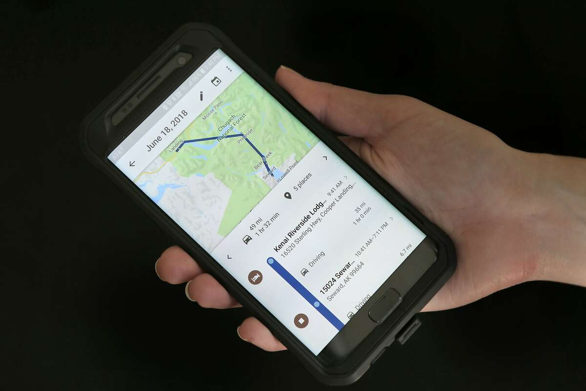 FILE - In this Aug. 8, 2018, file photo, a mobile phone displays a user's travels using Google Maps in New York. Google attracted concern about its continuous surveillance of users after The Associated Press reported that it was tracking people's movements whether they like it or not. (AP Photo/Seth Wenig, File)
