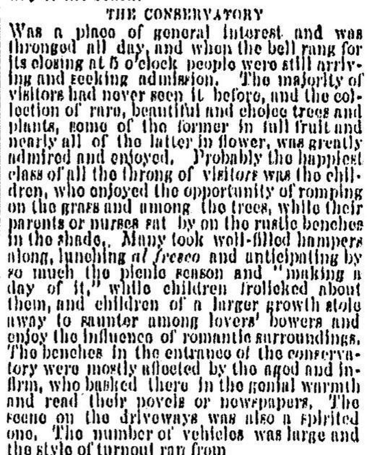 A Chronicle story about a leisurely day at the Conservatory of Flowers as well as Golden Gate Park, February 29, 1880