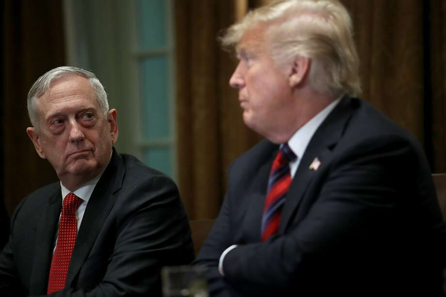 FILE - DECEMBER 23: FILE - WASHINGTON, DC - OCTOBER 23: U.S. Defense Secretary Jim Mattis listens as U.S. President Donald Trump answers questions during a meeting with military leaders in the Cabinet Room on October 23, 2018 in Washington, DC. (Photo by Win McNamee/Getty Images) Photo: Win McNamee, Getty Images