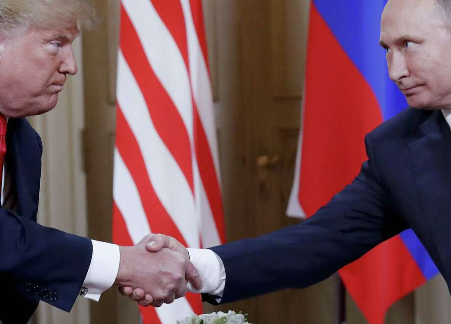 The Russian attack on the 2016 election was broad, ambitious and designed to aid Donald Trump. Here, the U.S. president and Russian President Vladimir Putin meet in July in Finland. Photo: Pablo Martinez Monsivais /Associated Press / Copyright 2018 The Associated Press. All rights reserved.