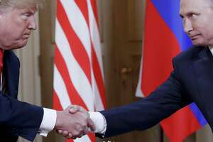 The Russian attack on the 2016 election was broad, ambitious and designed to aid Donald Trump. Here, the U.S. president and Russian President Vladimir Putin meet in July in Finland.