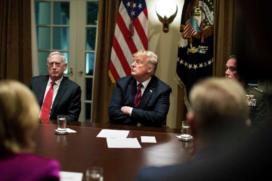 """President Donald Trump and Defense Secretary Jim Mattis, left, during a briefing at the White House during 2018. Mattis barely mentions Trump in his new book and doesn't describe what must have been one of the truly challenging tasks of his life — working under Trump without getting tainted. He didn't write about Trump because he didn't want to undermine the people still working in the administration. But, he said: """"There is a period in which I owe my silence. It's not eternal. It's not going to be forever."""" Photo: Sarah Silbiger /New York Times / NYTNS"""