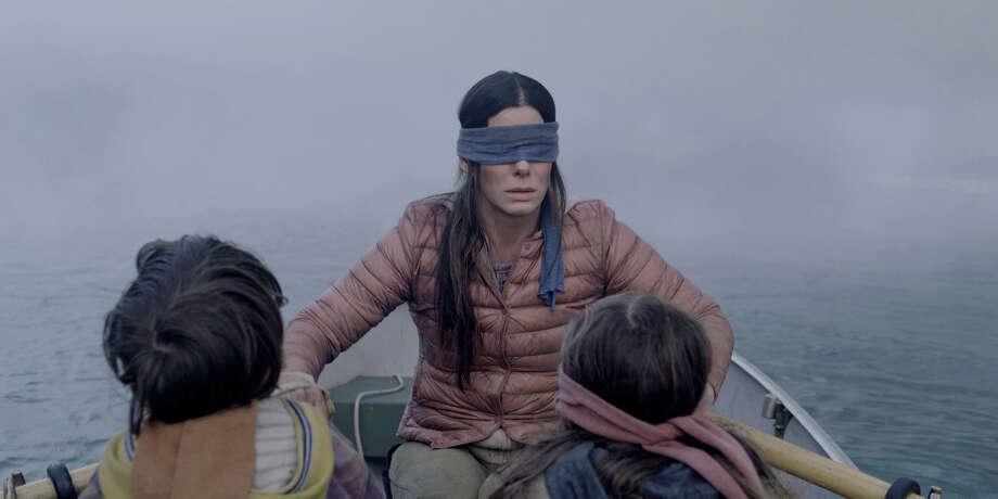 Sandra Bullock is a blindfolded woman who has to navigate a strange terrain in 'Bird Box' Photo: Netflix / Netflix