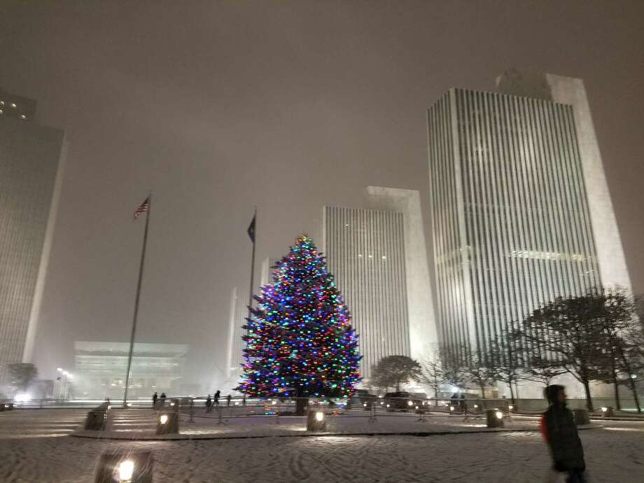 Christmas tree lights shine as snow covers the ground at the Empire State  Plaza in Albany - Churchill: On Christmas Day, Words Of Appreciation - Times Union