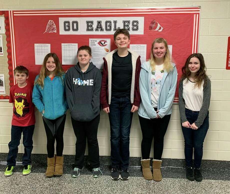 Middle and high school students named student of the month are Leland Terwilliger (sixth grade), Audrey Hopkins (seventh grade), Makenna Learman (eighth grade), Garrett Miller (ninth grade), Katelyn McCormick (tenth grade), Jessica Nugent (eleventh grade -- not pictured), and Rebecca Morgan (twelfth grade). (Submitted Photo)