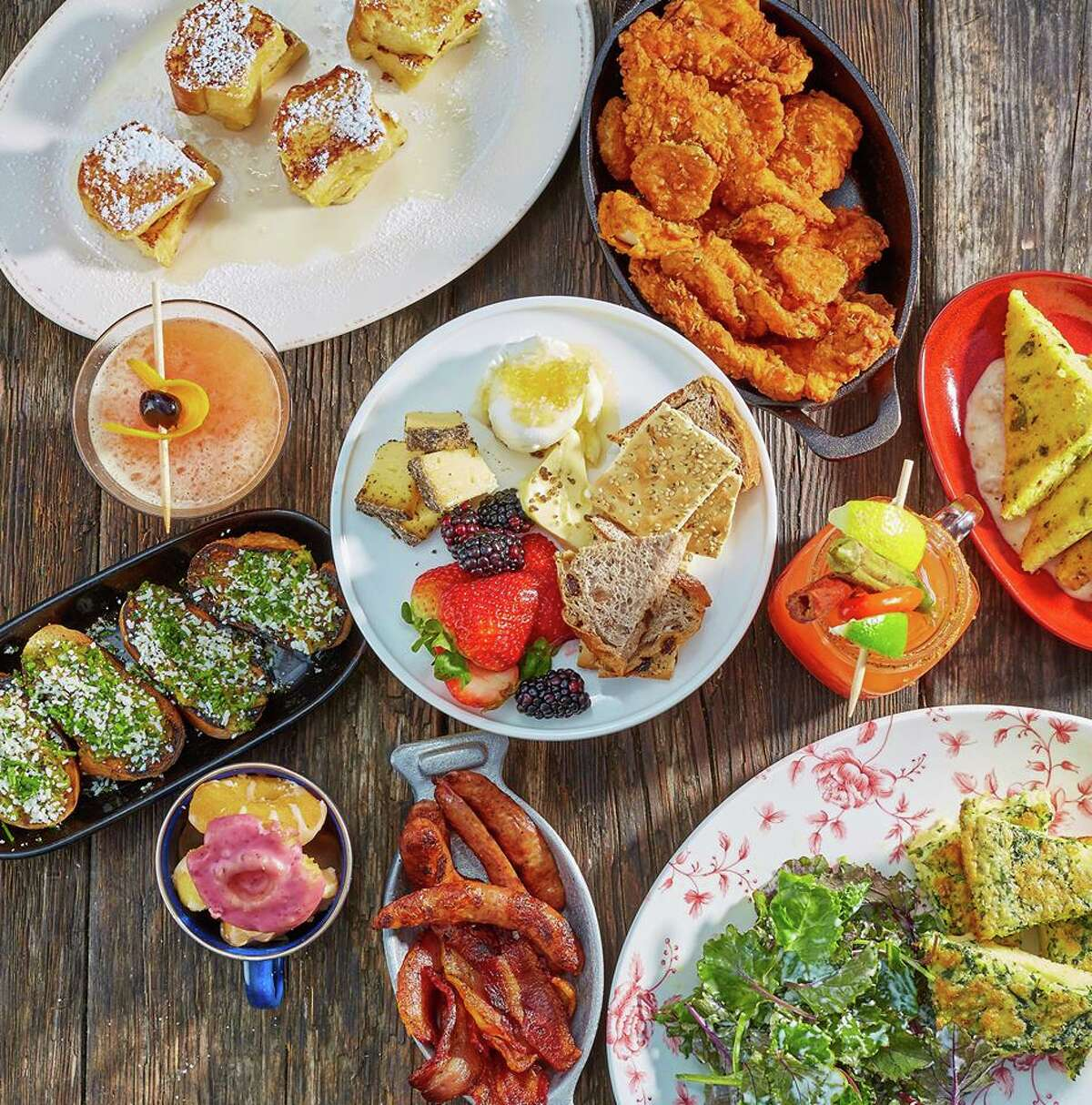 The Rustic Houston  Address: 1836 Polk Street  Brunch hours: 10 a.m. to 3 p.m.  Details: Jake Bush takes to the stage at downtown restaurant-slash-live-music venue, The Rustic, where you can load up at the family-style brunch deemed