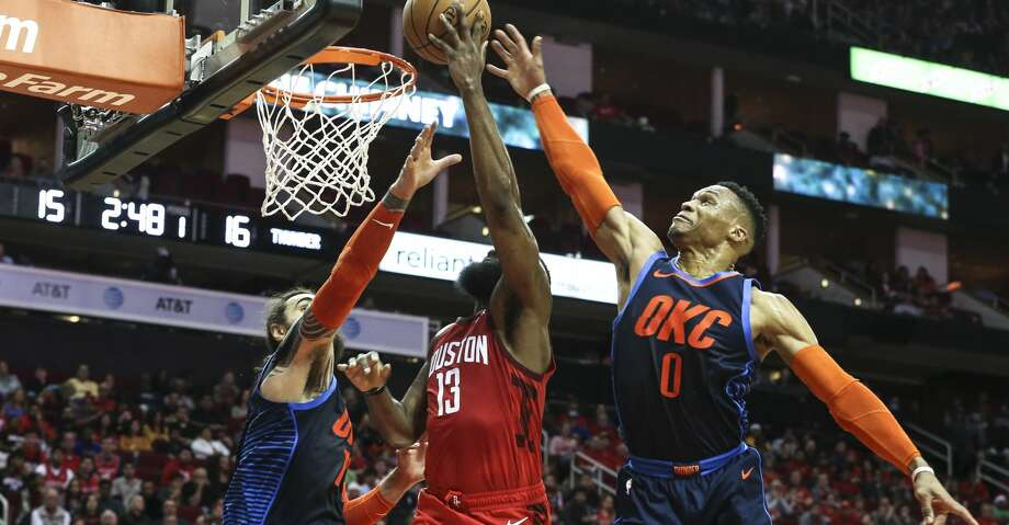 890badd2c438 Houston Rockets guard James Harden (13) is defended by Oklahoma City  Thunder players Steven