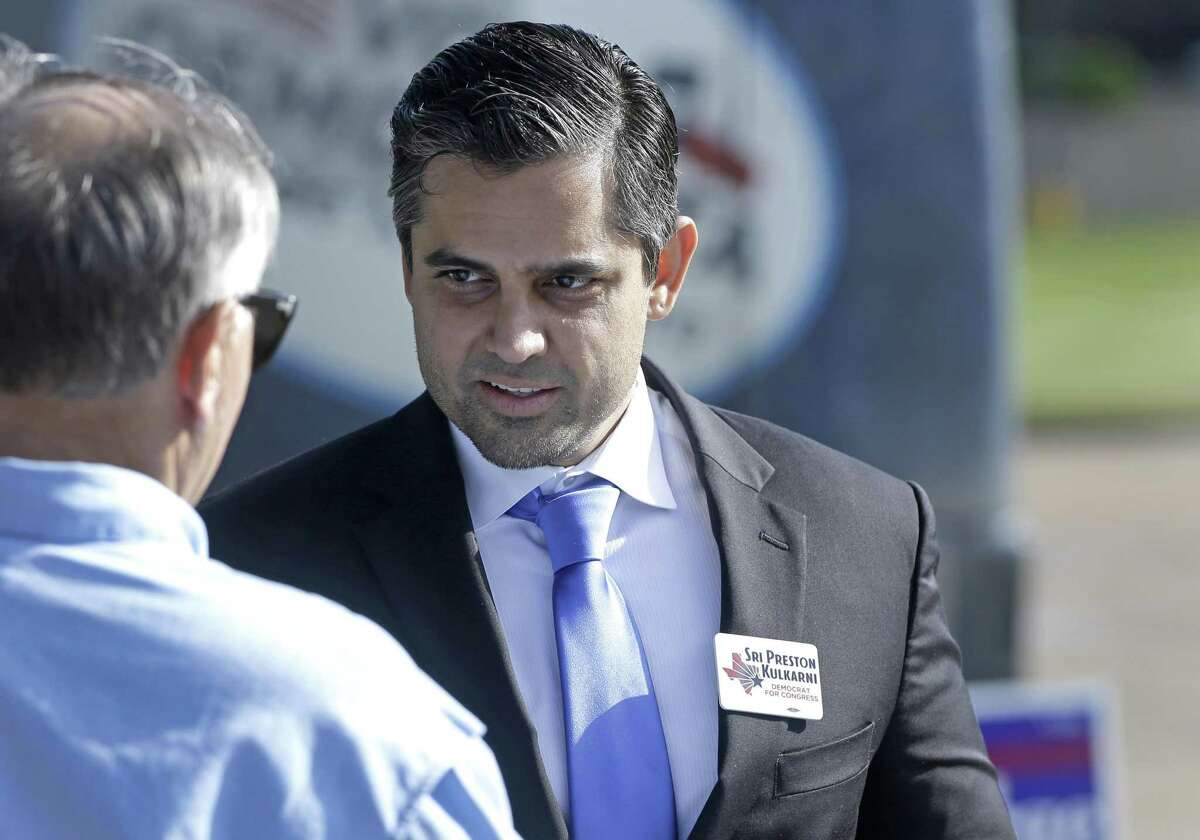 Sri Preston Kulkarni, Democratic nominee for Texas 22nd District, is shown during an event outside the Fort Bend County Democratic Headquarters, 13515 Southwest Fwy., Thursday, Oct. 25, 2018, in Sugar Land.