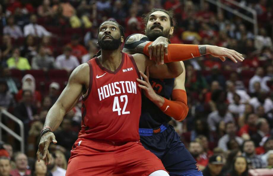 PHOTOS: 2018-19 Rockets game-by-game Houston Rockets center Nene Hilario (42) and Oklahoma City Thunder center Steven Adams (12) battle for position during the thirdquarter of the NBA game at Toyota Center on Tuesday, Dec. 25, 2018, in Houston. The Houston Rockets defeated the Oklahoma City Thunder 113-109. >>>See how the Rockets have fared in each game this season ... Photo: Yi-Chin Lee/Staff Photographer