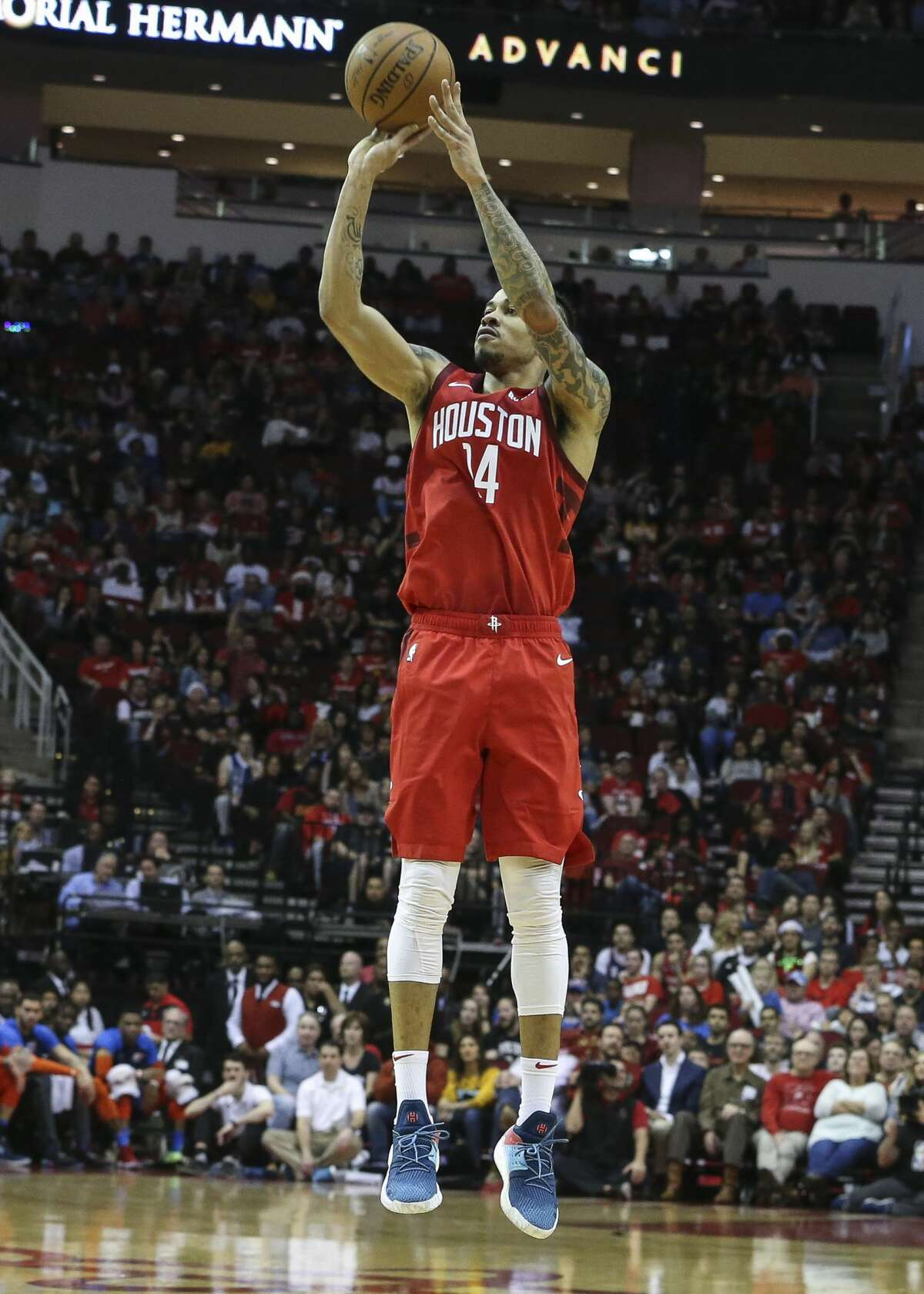 Houston Rockets guard Gerald Green (14) aims for a three point basket during the second quarter of the NBA game against the Oklahoma City Thunder at Toyota Center on Tuesday, Dec. 25, 2018, in Houston.