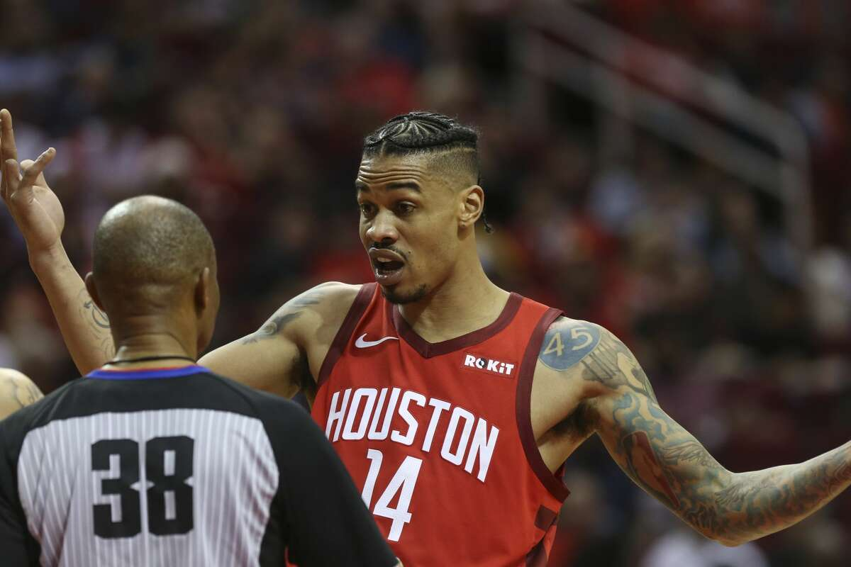 Houston Rockets guard Gerald Green (14) tells referee Michael Smith (38) his disagreements with the referees' calls during the third quarter of the NBA game against the Oklahoma City Thunder at Toyota Center on Tuesday, Dec. 25, 2018, in Houston.