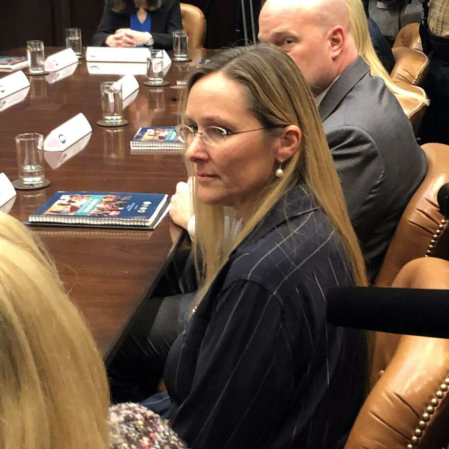 Scarlett Lewis, who lost her son Jesse at Sandy Hook, attends a round table White House meeting on school safety with a President Trump at the White House on Tuesday, Dec. 18, 2018. Photo: Dan Freedman/Hearst Newspapers Washington Bureau / Hearst Connecticut Media / Hearst Connecticut Media