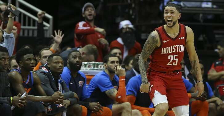 Houston Rockets guard Austin Rivers (25) is happy after scoring a three point basket during the fourth quarter of the NBA game against the Oklahoma City Thunder at Toyota Center on Tuesday, Dec. 25, 2018, in Houston. The Houston Rockets defeated the Oklahoma City Thunder 113-109.