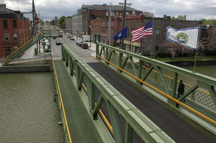 Times Union staff photo by Paul Buckowski ---  A  view of a lift bridge over the Erie Canal in Albion, N.Y. on Monday, May 16, 2005. Photo: Paul Buckowski