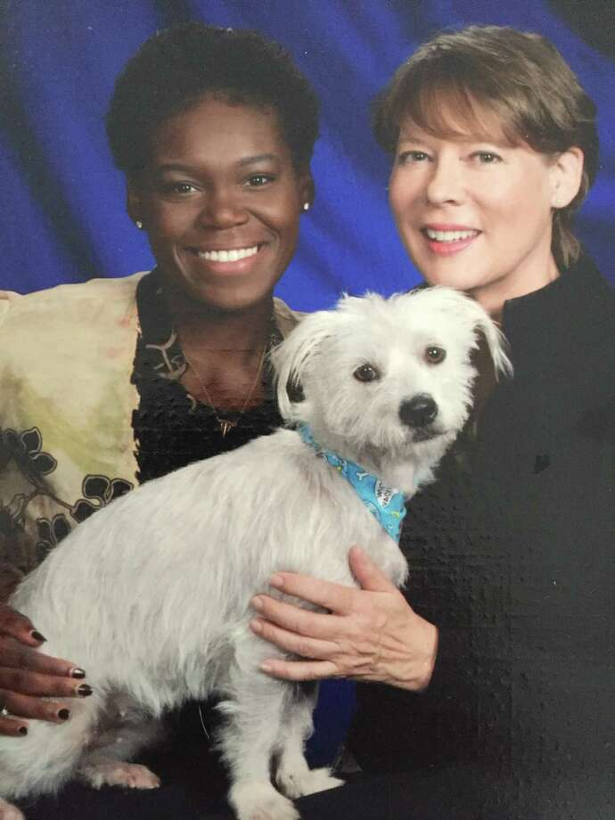RPI basketball player LaKissa Martin, left, with her foster mother, Barbara Dahl, and dog, Lady. (Photo courtesy Barbara Dahl)