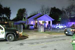 Police are searching for a man accused of shooting his wife in the hip during an argument late Tuesday evening at their north Houston home.