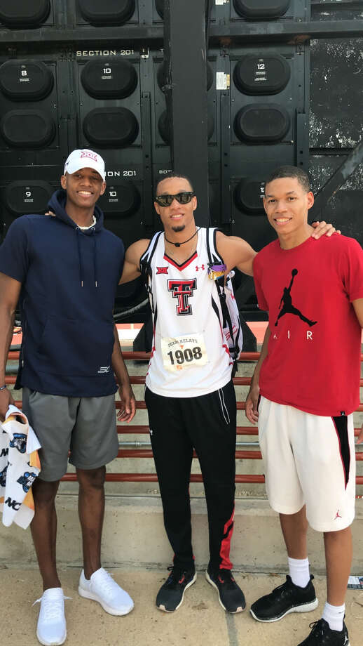 BROTHERLY LOVE While going different paths and pursuing different interests, (pictured left to right) Culver brothers Jarrett, a sophomore guard at Texas Tech, Trey, a Texas Tech graduate and high jumper, and JJ, a junior guard Wayland Baptist, are competitive but support and help one another. Photo: Courtesy Of Trey Culver