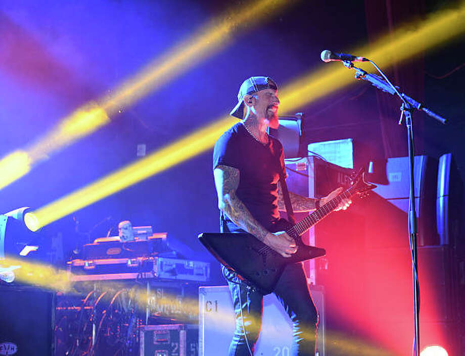 """Guitarist John Connolly of Sevendust performs as the band tours in support of the album """"All I See is War"""" on Oct. 15 in Tempe, Arizona. Photo: Ethan Miller 