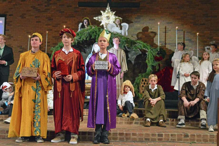 The three Wise Men and ensemble at The First Presbyterian Church of New Canaan's annual Children's Pageant, Monday, Dec. 24, 2018, in New Canaan, Conn. Photo: Jarret Liotta / For Hearst Connecticut Media / New Canaan News Freelance