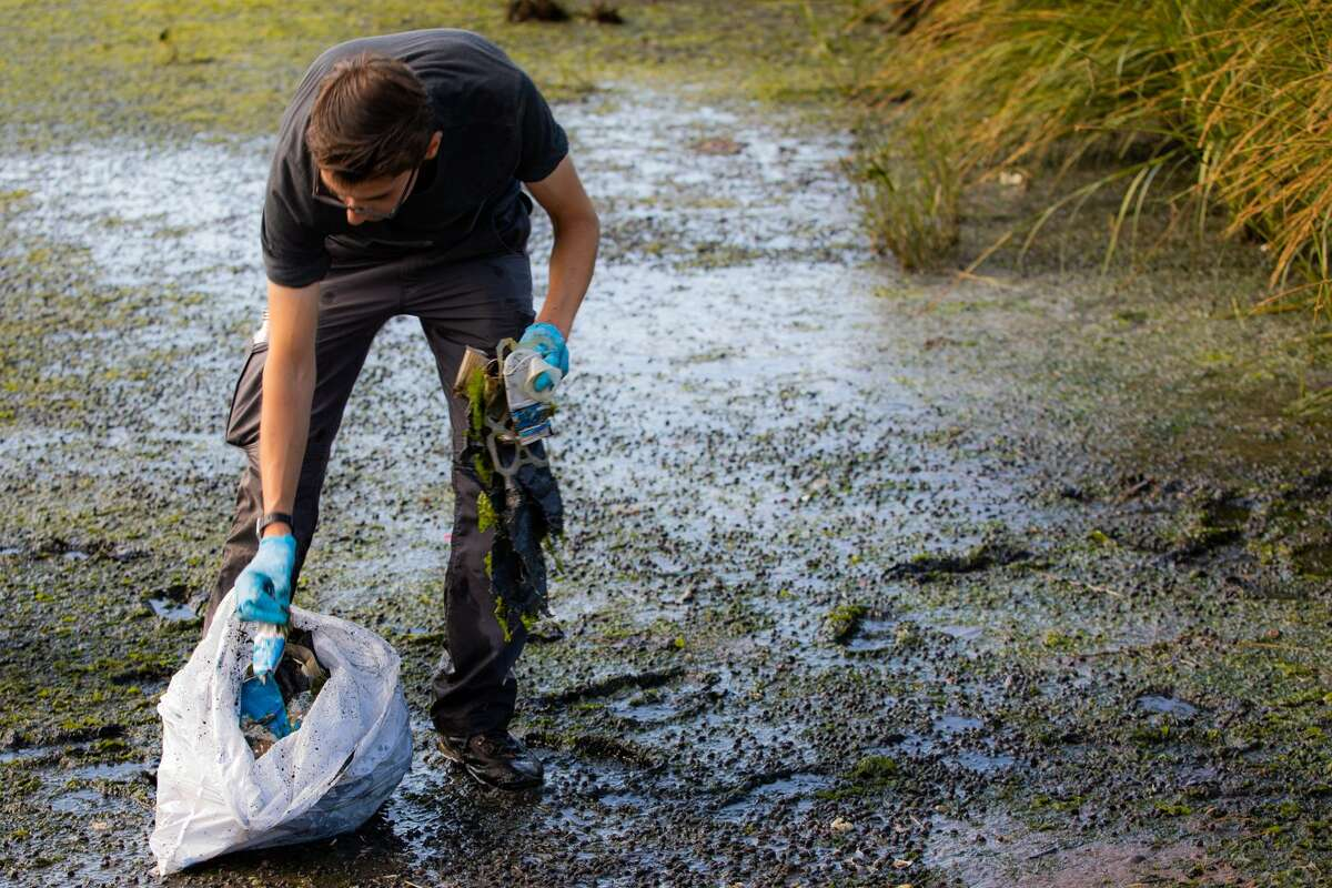 Stephen Urchick, 24, stuffs a handful of plastic bottles and 6-pack rings into a garbage bag. Urchick volunteered to help clean up the Long Wharf as part of the Save the Sound program run by the Connecticut Fund for the Environment. Saturday, Sept. 15, 2018. (Photo by Carl Jordan Castro)