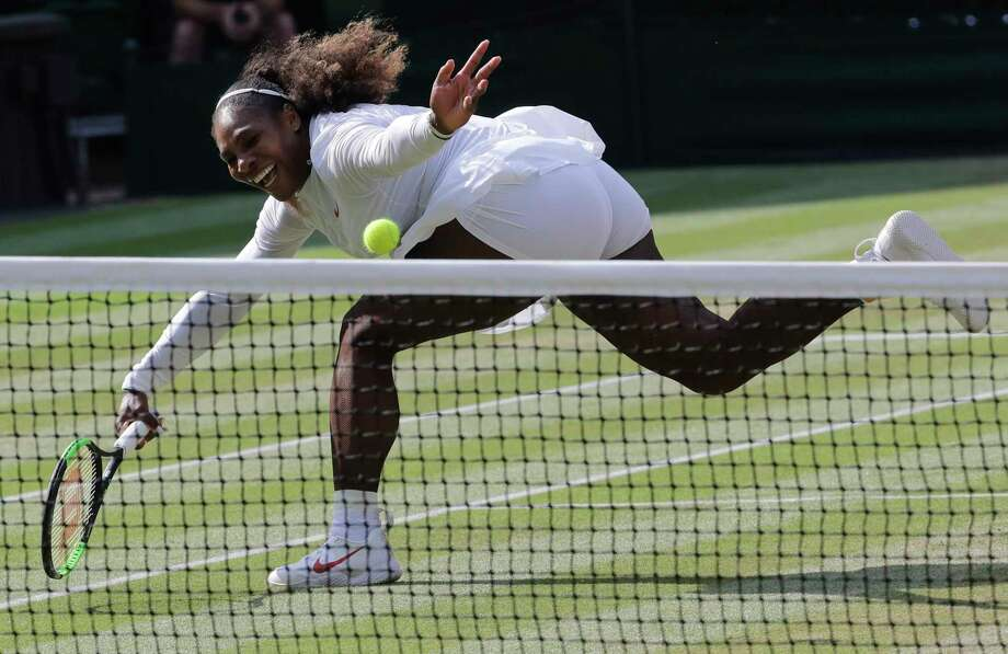 FILE - In this July 14, 2018, file photo, Serena Williams returns the ball to Germany's Angelique Kerber during their women's singles final match at the Wimbledon Tennis Championships, in London. Serena Williams was named The Associated Press Female Athlete of the Year on Wednesday, Dec. 26, 2018. Photo: Ben Curtis, AP / Copyright 2018 The Associated Press. All rights reserved.