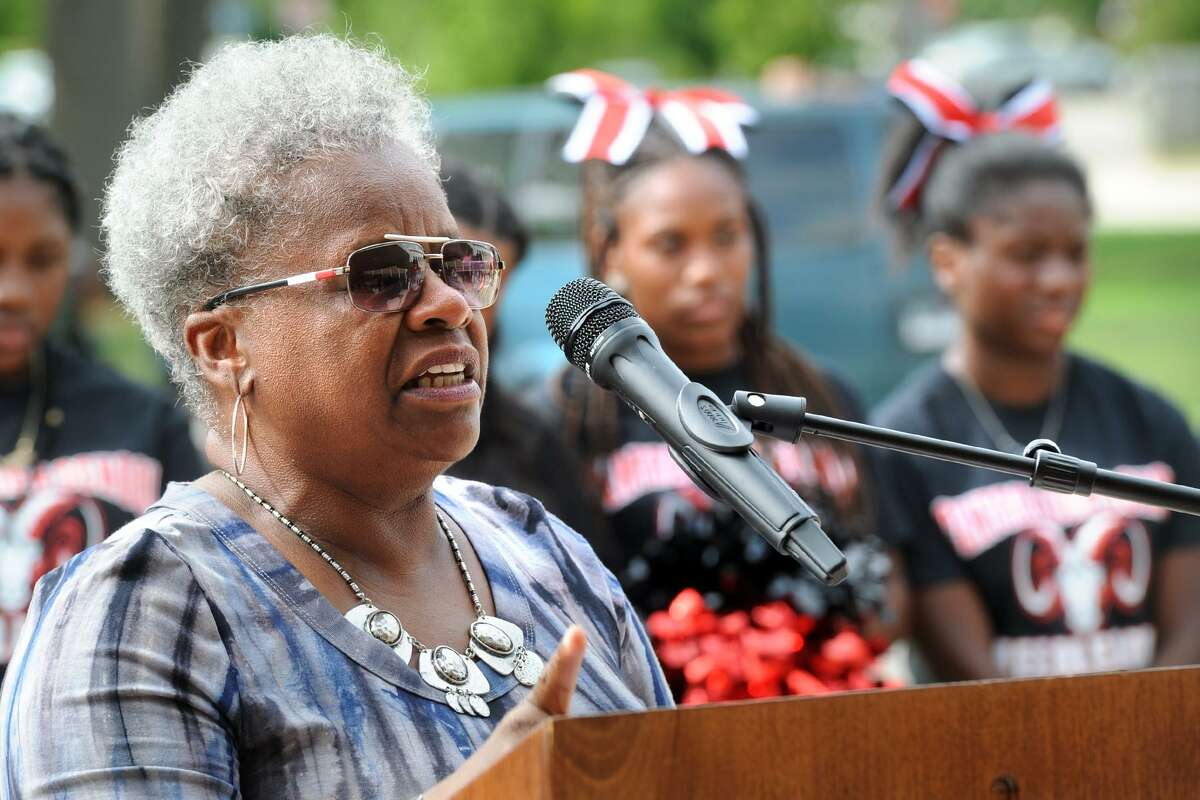 State Sen. Marilyn Moore, a graduate of Central High School, speaks at the ribbon cutting ceremony for the newly renovated Central High School, in Bridgeport, Conn. Aug. 31, 2018.