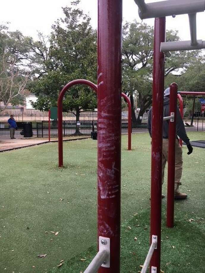 Weir Park in West University Place is now open after being refurbished, despite someone damaging some fresh paint. Crews will touch up damaged paint after area children are back in school. Photo: City Of West University Place
